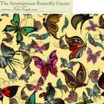 یک وکتور- پترن بسیار زیبا با طرح پروانه های رنگارنگ
