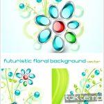 مجموعه وکتور بسیار زیبای Futuristic Floral Background