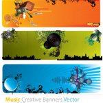 مجموعه 4 بنر موزیک Music Creative Banners Vector