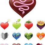 دانلود وکتور قلب شیشه ای Colorful Glass Hearts Vector