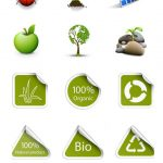 مجموعه آیکون های برچسب ها و علامات محیط زیست